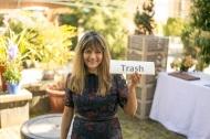 Shama holding the trash