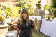 Shama holding the trash