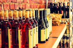 Wines lined up for the buying